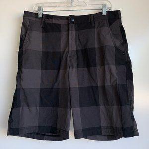 Lululemon Black & Gray Plaid Flat Front Shorts ~36